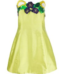 a.n.g.e.l.o. vintage cult 1980s embroidered sunflower dress - green
