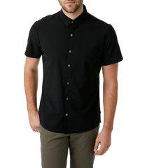 men's 7 diamonds american me slim fit short sleeve button-up performance shirt, size x-large - black