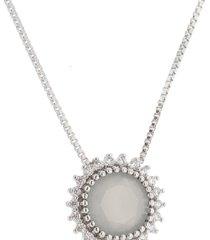 colar lua mia joias pingente sol cinza com zircônias brancas banho ródio