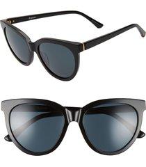 women's brightside beverly 55mm cat eye sunglasses - black/ grey