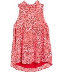 women's gibson cavallo ruffle neck back tie tank, size large - red