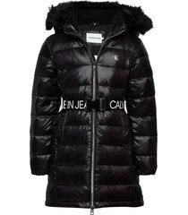 essential down long coat gevoerd jack zwart calvin klein