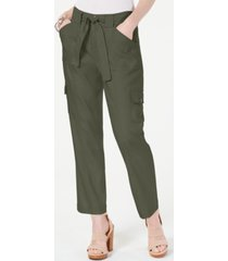 inc linen-blend cargo paper bag ankle pants, created for macy's