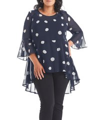 plus size women's estelle begin again print chiffon high/low peplum tunic, size 4x - blue