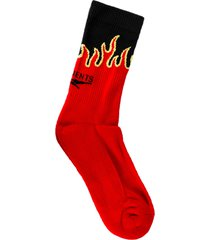 black and red logo flame socks