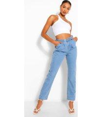 hoge denim mom jeans met omgeslagen pijpen, middenblauw