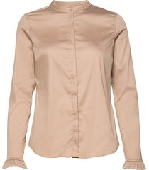 mattie sustainable shirt overhemd met lange mouwen beige mos mosh