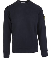 stone island man navy blue round neck sweatshirt with logo patch