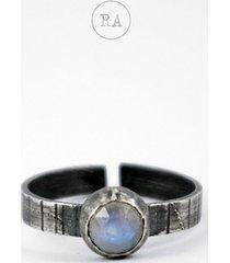 kamień księżycowy - srebrny pierścionek oksyda