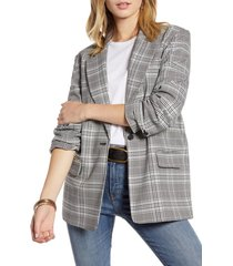 women's treasure & bond oversize patterned blazer, size medium - grey