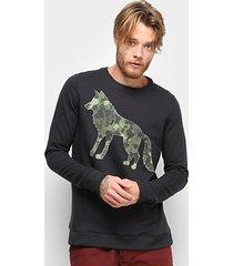 blusa acostamento lobo manga longa masculina