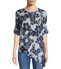 roll sleeve hi-lo floral top