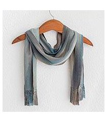 rayon chenille scarf, 'solola rainfall' (guatemala)