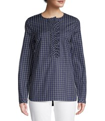 lafayette 148 new york women's bradford crosshatch shirt - royal blue - size xl