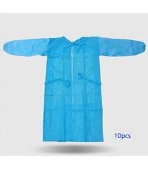10 piezas monos desechables a prueba de polvo bata no tejida transpirable ropa de aislamiento antiestático bata de laboratorio antiincrustante