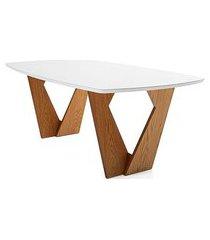 mesa de jantar kamerik base carvalho tampo de vidro 170cm - 62273 preto
