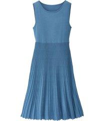 gebreide jurk met plissérok, jeansblauw 46