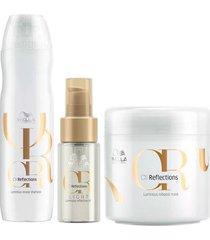 kit shampoo + óleo light + máscara wella professionals oil reflections