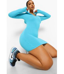 gebreide jurk met capuchon, bright blue