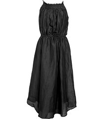 smocked taffeta a-line dress