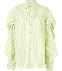 natasha zinko drop shoulder striped shirt - white