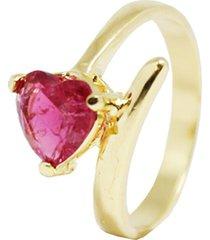 anel kumbayá coração semijoia banho de ouro 18k cravação de zircônia fusion vermelha