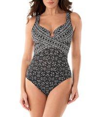 miraclesuit women's incan treasure escape crisscross one-piece swimsuit - black white - size 8