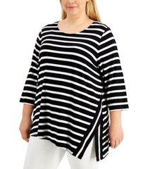 calvin klein plus size vented-hem striped top