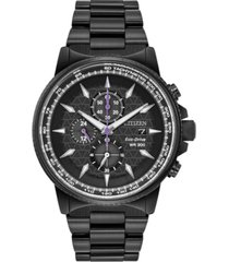 marvel by citizen eco-drive men's black panther chronograph black bracelet watch 42mm