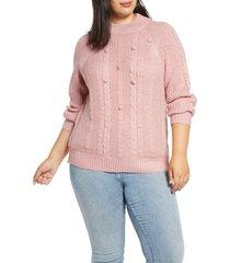 plus size women's single thread textured pom sweater