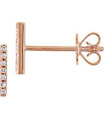 14k rose gold & 0.04 tcw diamond bar stud earrings