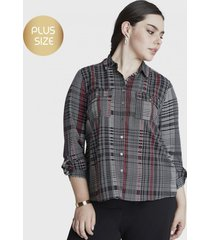 blusa manga larga con botones negro curvi