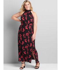 lane bryant women's knit kit tie-halter maxi dress 34/36 black/pink floral