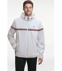 tommy hilfiger men's essential signature stripe rain jacket ice - m