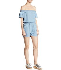 clark off-the-shoulder denim romper