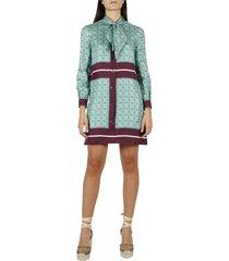 gucci silk dress with gg print