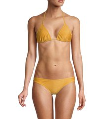 solid and striped women's the iris bikini top - glitter gold - size s