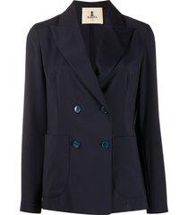 barena long sleeve double buttoned blazer - blue
