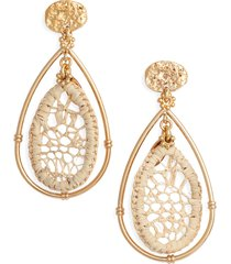 women's gas bijoux cage raffia teardrop earrings