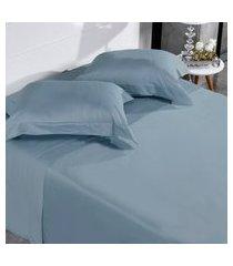 jogo de cama 300 fios casal 100% algodáo penteado toque acetinado fronha com abas classique - tessi