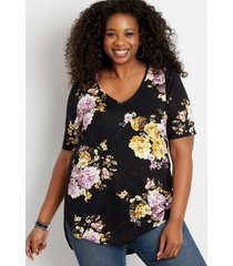 maurices plus size womens 24/7 flawless black floral tee