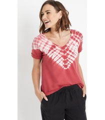 maurices womens 24/7 red tie dye drop shoulder tee