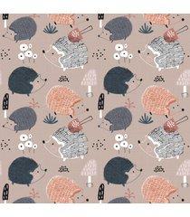 papel de parede infantil porco espinho escandinavo 57x270cm - multicolorido - dafiti