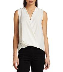 rag & bone women's victor sleeveless wrap blouse - white - size xs