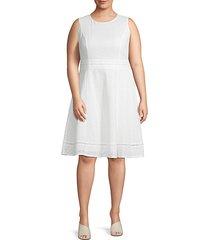 plus sleeveless cotton fit-&-flare dress