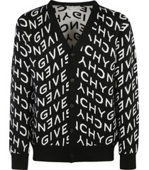 givenchy all-over logo patterned cardigan