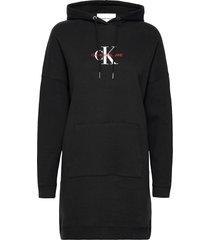monogram hoodie dress kort klänning svart calvin klein jeans