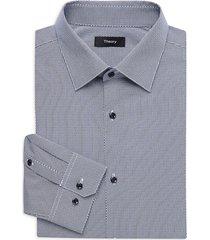 theory men's cedrick print dress shirt - navy - size 15.5 l