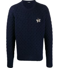 raf simons butterfly charm sweater - blue