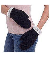 100% alpaca reversible mittens, 'striking contrast' (peru)
